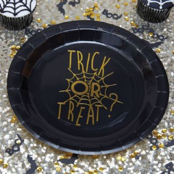 Halloween paper party plates, Trick or Treat - pack of 8